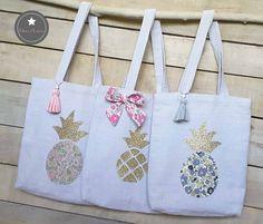 Tote bag fillette 3 modèles au choix lin lavé gris et ananas Liberty ou pailleté VENDU A L'UNITE : Sacs enfants par talena-et-louison