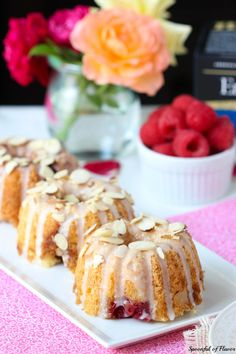 Raspberry Almond Coffee Cakes are the perfect little sweet treat to serve along side tea! Grab your friends, make a batch of these coffee cakes and enjoy! Cupcake Recipes, Cupcake Cakes, Cupcakes, Dessert Recipes, Mini Bunt Cake Recipes, Tea Cakes, Cupcake Toppers, Mini Desserts, Just Desserts