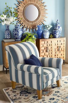 If you were a chair designer, what would be on your short list of must-have features? Comfort, of course. Style that's fresh yet timeless. Quality is important, too. Well, all that and more describes Pier 1's handcrafted Lyndee Armchair. The rolled arms and back are curl-up-and-relax comfy, the soft blue and white stripe is a classic, and durability is handcrafted in at every step. Nice work!
