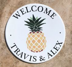 Pineapple Address and House Plaque - Porcelain Address Plaques
