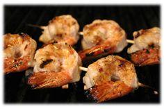 grilling shrimp on the BBQ