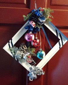 Christmas Picture Frame Wreath by TheCreativeSideofBS on Etsy