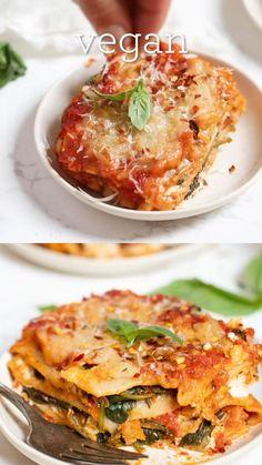 Dairy Free Lasagna, Vegetarian Lasagna Recipe, Easy Lasagna Recipe, Tasty Vegetarian Recipes, Vegan Dinner Recipes, Veggie Recipes, Healthy Recipes, Vegetable Lasagna Recipes, Lasagna Recipe With Ricotta