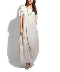 Beige Linen Maxi Dress - Plus Too