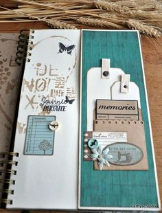 """Un si joli moment"" album by - VC Creative Space Travel Journal Scrapbook, Mini Albums Scrapbook, Mini Album Scrap, Handmade Scrapbook, Mini Album Tutorial, Fabric Journals, Bullet Journal Themes, Mini Photo, Album Book"