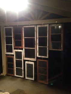 Swivel window wall in construction :-) all 316 grade stainless fittings used. A couple more windows, some stain glassing and French doors still to come! Watch this pin for completed product! #rhythmicwindowwall #recyclereuse #sunroomtobe #heapsmoretocome