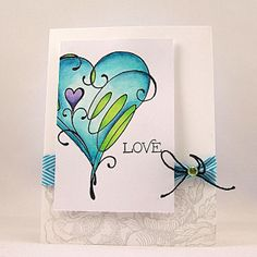 Penny Black love this style, fresh and free and lovely bright colours Valentines Watercolor, Watercolor Cards, Watercolor Heart, Watercolor Ideas, Watercolor Paintings, Penny Black Cards, Penny Black Stamps, Love Cards, Diy Cards