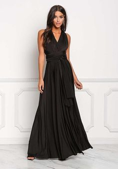Black Slinky Sheen Magic Tie Maxi Gown - New Love Culture, Maxi Gowns, Bridesmaid Dresses, Wedding Dresses, Junior Outfits, Curves, Dressing, Rompers, Prom