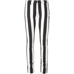 Off-White striped skinny jeans (€365) ❤ liked on Polyvore featuring jeans, pants, striped jeans, patterned skinny jeans, print jeans, stripe jeans and stripe skinny jeans