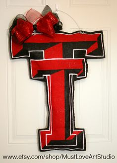 Texas Tech Red Raiders Burlap Door Hanger by MustLoveArtStudio