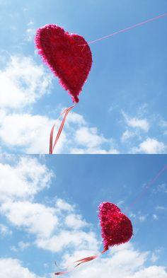 DIY Heart Kite by mypoppet #DIY #Kite #Heart