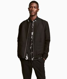 Linen-blend Bomber Jacket | Black | Men | H&M US