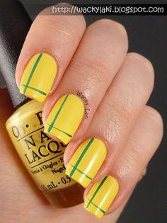 Yellow nails. Brasil nails. Brazil nail art. Nail design. World cup ideias. OPI polish.