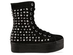 Jeffrey Campbell Lockness Spike in Black Suede Silver at Solestruck.com