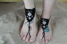 Crochet  Faux Pearl & Crystal Beaded Barefoot Sandals (1 pair) (Black or Ivory) #IconCollection