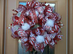 Red and White Snowball Deco Mesh Holiday Wreath