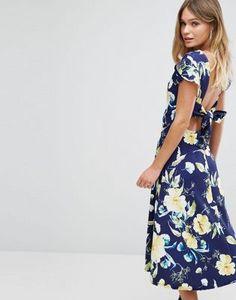 Boohoo Floral Print Tie Back Midi Skater Dress