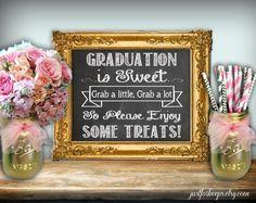 Graduation Is Sweet Sign Chalkboard Printable 8x10 by justforkeeps