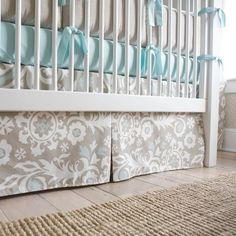 Taupe Suzani Crib Skirt Box-Pleat | Carousel Designs