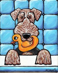 Airedale and Rubber Duck by Melinda Dalke
