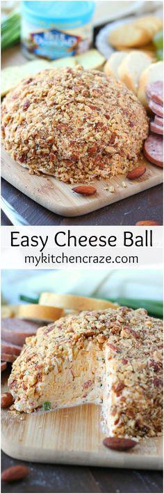 Easy Cheese Ball ~ mykitchencraze.com ~ A delicious Cheese Ball made with cream cheese, cheddar cheese, chives, bacon bits and garlic. This Easy Cheese Ball is a must make for your next party, family gathering or just because. [ad] @bluediamond