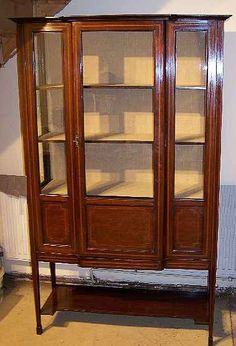 english antique display cabinet. Antique Inlaid Mahogany Display Cabinet. English Cabinet T
