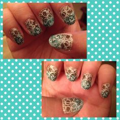 Underwater nails... Brown to aqua gradient base coat.. Bubbles are stamped using MASH plate 43 and octopus stamped using MASH plate 37.. Glitter topcoat