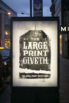 Brandalism- The Large print giveth. The small print taketh away Typography Layout, Graphic Design Typography, Lettering, Graphic Art, Street Art Banksy, Graffiti, Advertising, Ads, Branding