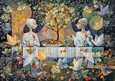 Artwork Type: Print Medium: Giclee Printing Pigment Inks on Museum Grade Fine Art Digital Archival Paper Artwork Description: This image depicts two angels eating breakfast in the Garden of Eden About