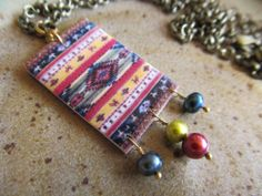 Cherokee Native American Blanket Rug Necklace by FayWestDesigns, $21.00