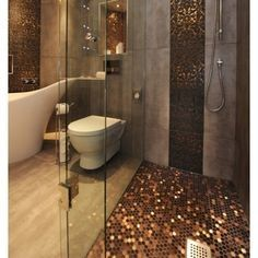 Eclectic Bathroom Shower Floor Design, Pictures, Remodel, Decor and Ideas Bad Inspiration, Bathroom Inspiration, Interior Inspiration, Bathroom Ideas, Gold Bathroom, Bathroom Designs, Bathroom Remodeling, Remodeling Ideas, Shower Designs