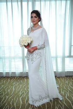 Amar Baharin and Amyra Rosli's Fairytale Wedding Muslimah Wedding Dress, Nikkah Dress, Muslim Wedding Dresses, Celebrity Wedding Dresses, Colored Wedding Dresses, Bridal Dresses, Dress Muslimah, Malay Wedding Dress, Wedding Costumes