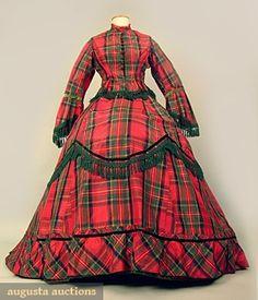 TARTAN PLAID SILK TAFFETA DRESS, c. 1871 2-piece red & green taffeta, trimmed w/ green silk fringe, pleated red tulle, & dark green velvet ribbon.