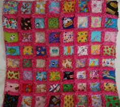 Fuschia Dimple Dot Minky Baby Girl I Spy Security Blanket rag quilt