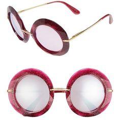 Women's Dolce&gabbana 50Mm Round Sunglasses ($270) ❤ liked on Polyvore featuring accessories, eyewear, sunglasses, fuchsia, gradient lens sunglasses, mirrored sunglasses, mirrored glasses, dolce gabbana glasses and round mirror sunglasses
