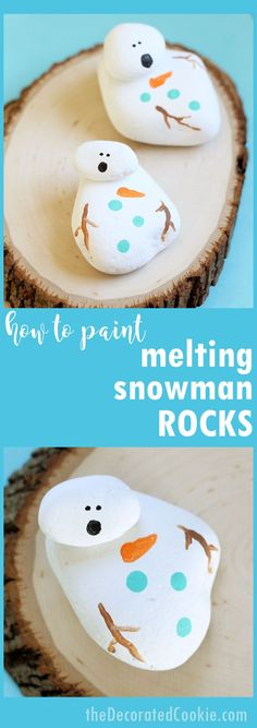 How to paint rocks: Make melting snowman painted rocks, an easy winter DIY craft idea for kids and grown-ups. Arts And Crafts For Adults, Crafts For Seniors, Adult Crafts, Senior Crafts, Fun Easy Crafts, Easy Arts And Crafts, Fun Diy, Winter Diy, Winter Crafts For Kids