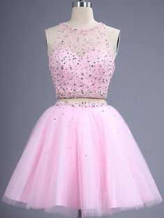 12a43e9bb A-line Scoop Neck Short Mini Tulle Prom Dresses with Beading Sequins UK. Vestidos  Para ...