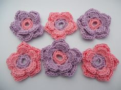 Crochet flower applique  in pink and lavender by needlepointnmore, $2.60