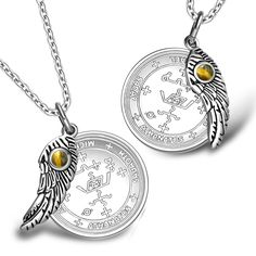 Love Couples Archangel Michael Sigils Amulets Set Angel Wings Tiger Eye Charm Necklaces
