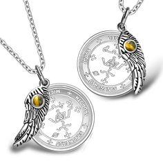 Love Couples Archangel Michael Sigils Amulets Set Angel Wings Tiger Eye Charm Necklaces
