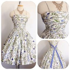 Vintage 1950s Lilac Lavendar Green Floral Gathered by hipsmcgee, $195.00