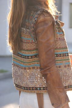 Aztec #Vest & Brown Leather #Jacket