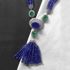 @thejewellcloset Stunning  Diamond,Tanzanite &Emerald  Tassel Necklace  by thehouseofrose