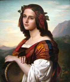 Art Blog: Amalie Bensinger : Portrait of an Italian Girl with Tambourin 1860