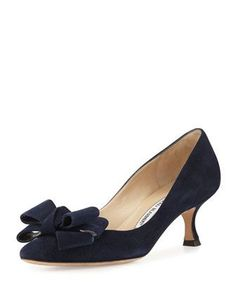 Lisane+Suede+Bow+Kitten+Heel+Pump,+Navy+by+Manolo+Blahnik+at+Bergdorf+Goodman. #manoloblahnikheelsbergdorfgoodman