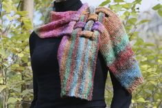So Freaking pretty - Unique Silk and Kid Mohair Neck Piece Scarf in Green, Pink, Blue, Purple and Orange Noro Yarn