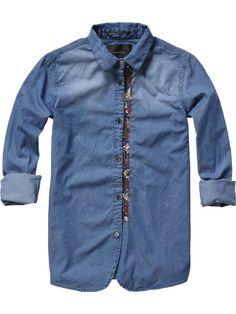Blue shirt  - Maison Scotch Amsterdams Blauw