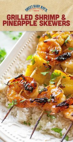 These Grilled Shrimp and Pineapple Skewers are served over coconut rice and have a sweet Teriyaki glaze. the-girl-who-ate-… Source by littlebearcanoe Kabob Recipes, Grilling Recipes, Fish Recipes, Seafood Recipes, Dinner Recipes, Cooking Recipes, Healthy Recipes, Grilling Ideas, Protein Recipes