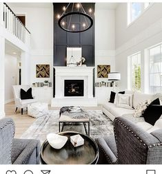 Tall Fireplace, Home Fireplace, Living Room With Fireplace, Fireplace Design, Home Living Room, Living Room Designs, Living Room Decor, Living Spaces, Fireplace Ideas