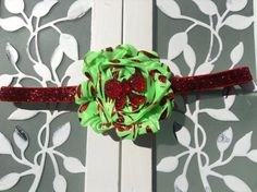 Green and Red Damask Glitter Christmas Headband